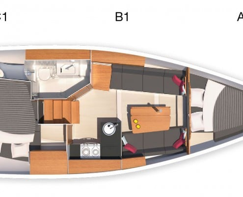 Hanse Yachts 315 layout due cabine