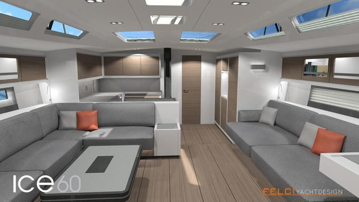 ice yachts 60 - dinette - salone